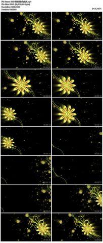 矢量图黄色花藤花边花纹循环播放高清视频舞蹈模特素材