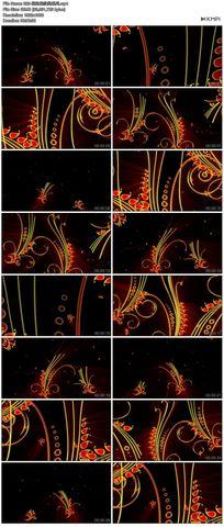矢量图花藤花边花纹led红色循环播放高清舞蹈视频模特素材