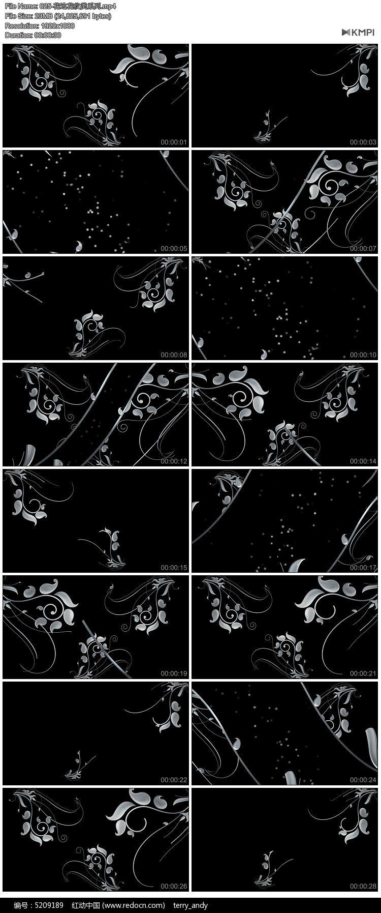 花边 花纹 循环播放 高清素材 矢量图 花藤 vj 欧式花纹 演绎背景