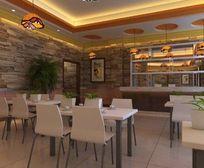 原始文化石墙面装修餐厅3D模型