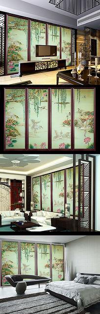 中式彩雕玉雕仙鹤荷花移门电视背景墙