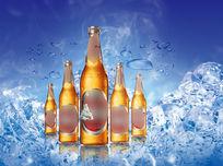 冰凉冰块啤酒广告素材PSD PSD