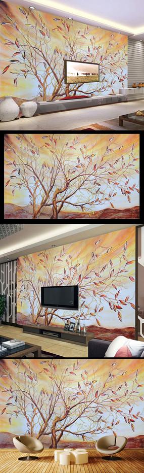 抽象树彩雕艺术玻璃电视背景墙
