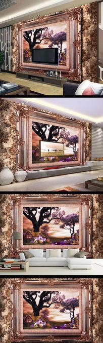 风景画油画相框背景墙