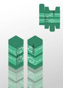 绿色花纹设计通用包装盒模板