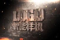 墙面上的铜金立体LOGO样机