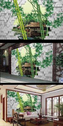 3D立体砖墙设计大自然竹子背景墙psd分层