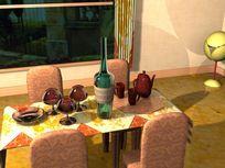 餐厅日常用品模型素材max