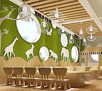动物雕刻版艺术吊灯儿童幼儿园桌椅组合模型素材max