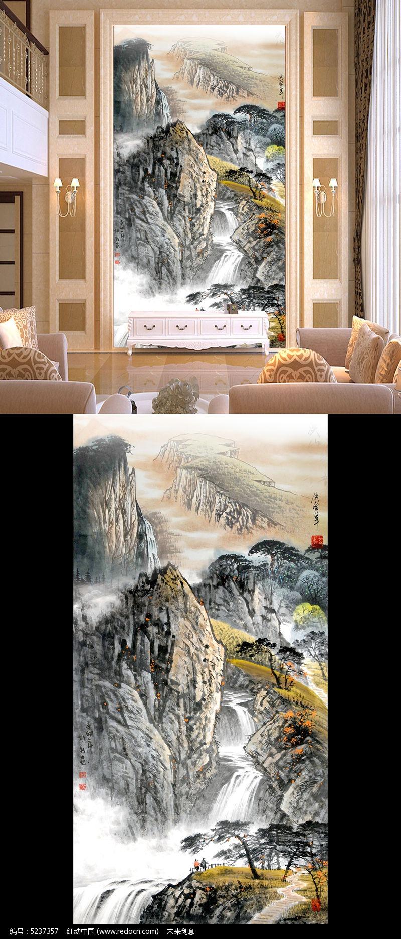 古代国画山水画玄关壁画