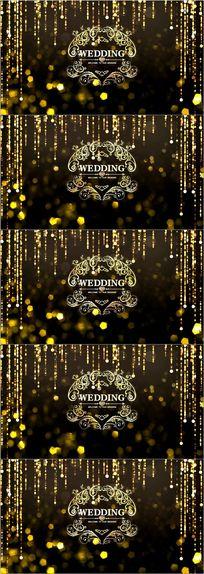 金色粒子婚礼logo舞台背景视频素材