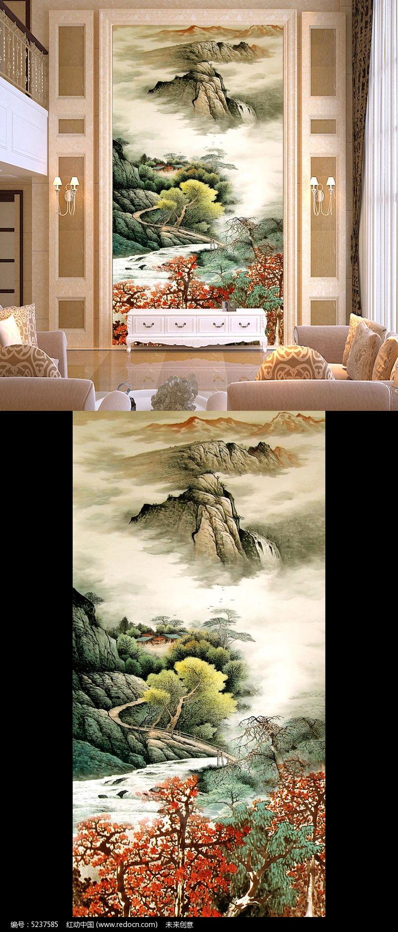 锦绣河山玄关壁画国画山水图片