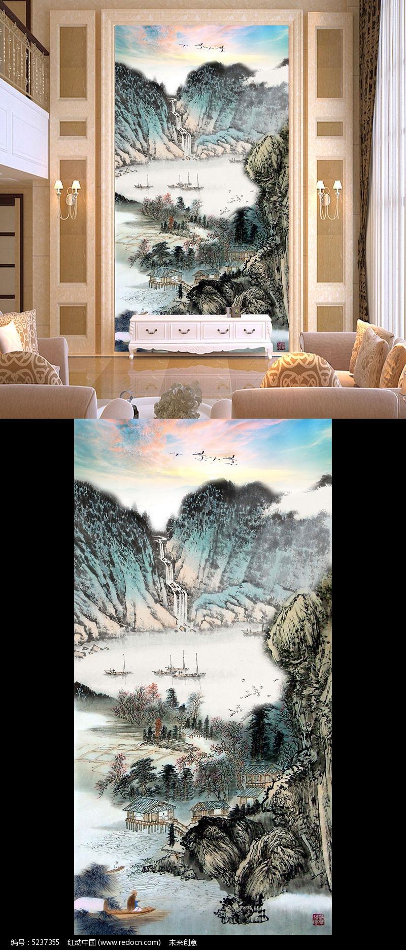 聚宝盆国画山水画玄关壁画
