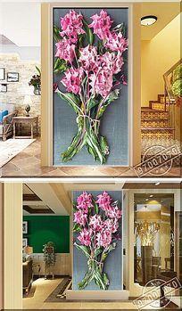 立体花束颜料油画玄关背景墙
