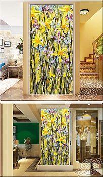 立体兰花颜料油画玄关背景墙