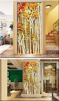立体树林颜料油画玄关背景墙