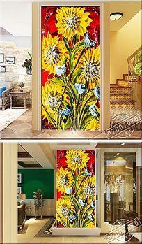 立体艳丽向日葵颜料油画玄关背景墙