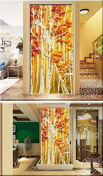 立体艺术树林颜料油画玄关背景墙