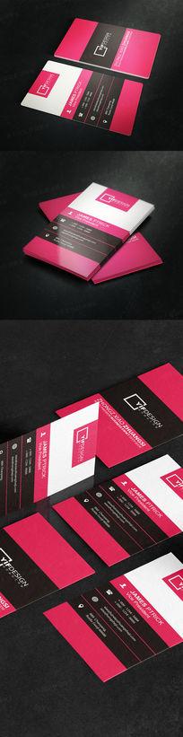竖版红黑经典名片设计