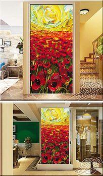阳光下的花朵颜料油画玄关背景墙