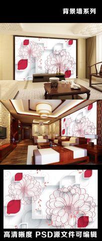 3D立体线描手绘鲜花室内电视背景墙装饰画