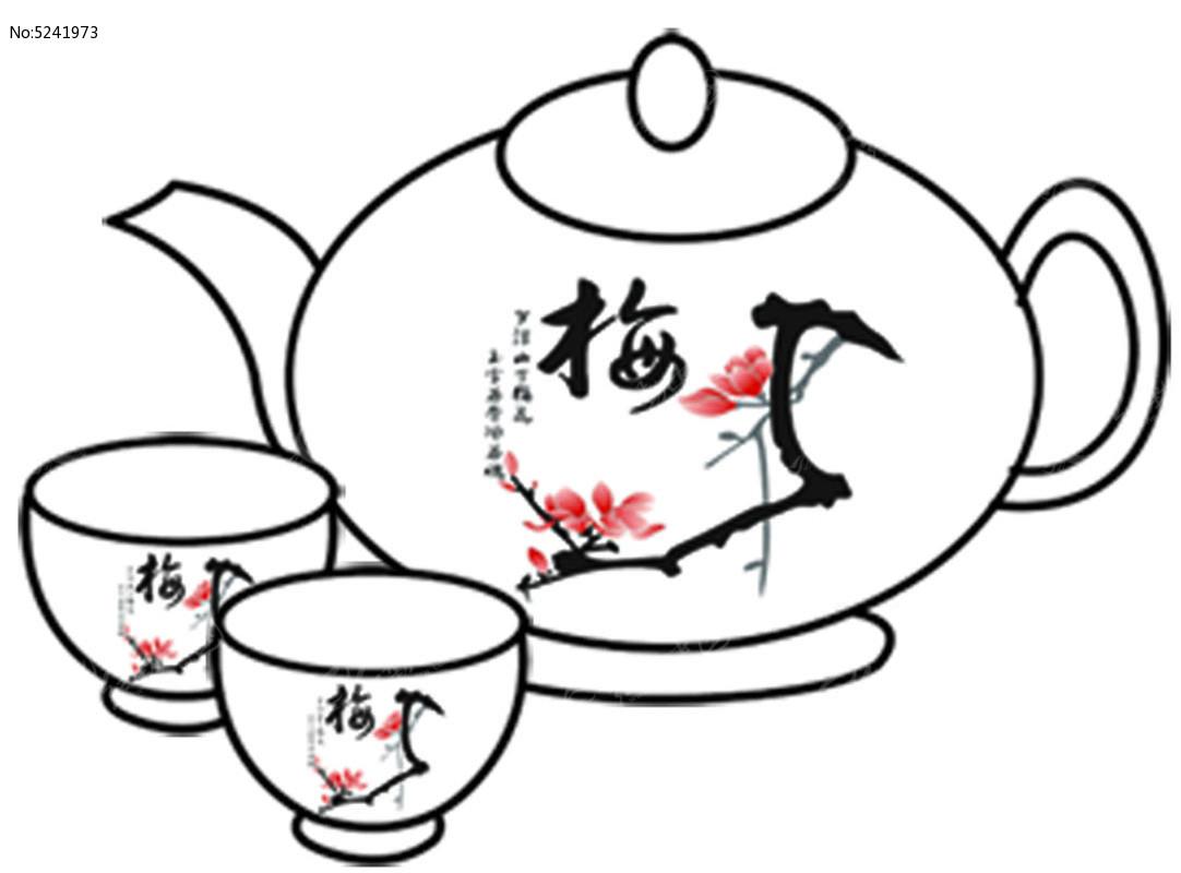 茶壶茶杯手绘_卡通图片/插画图