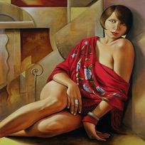 复古油画女人装饰画模板