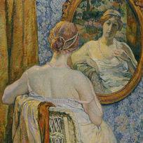 古典照镜子复古装饰画模板