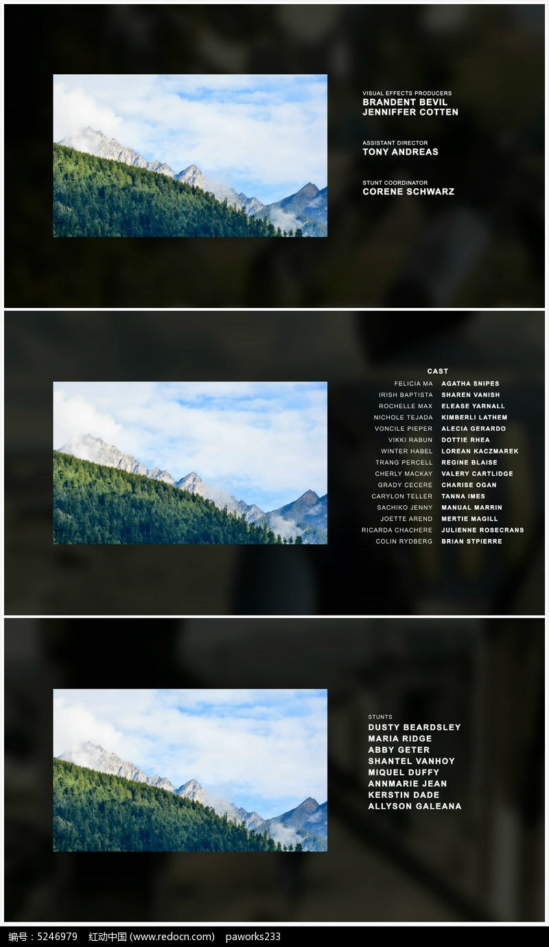 简洁实用电影片尾字幕AE模板