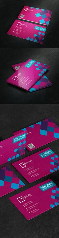 时尚红蓝色方块企业名片设计