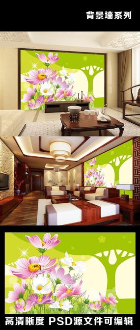 现代时尚绿树鲜花室内电视背景墙装饰画