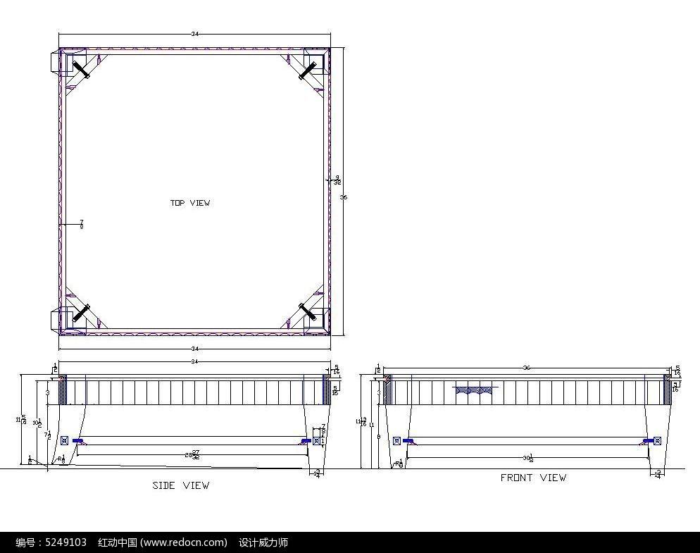 平面凳子CAD图纸cad转素材图片
