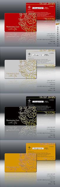 金色牡丹卡设计模板同款四色 PSD