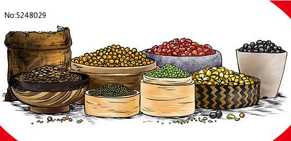 五谷杂粮原创手绘商业食品插画PSD素材下载 编号5248029 红动网
