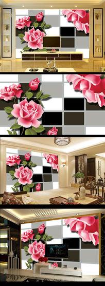 3D黑白方框玫瑰花朵爱情花玄关