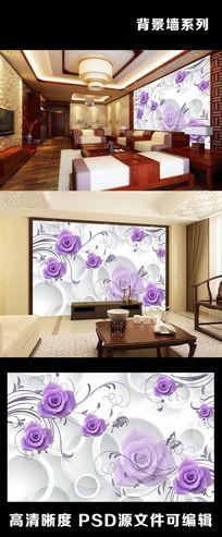 3D立体紫色玫瑰花藤蔓室内电视背景墙装饰画