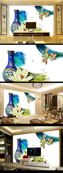 古典青花瓷瓶和字荷花古典中式电视背景墙