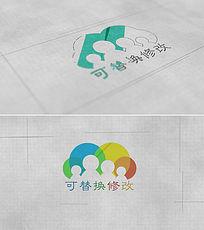 简洁绘制效果logo标志展示模板