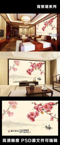 中式水墨画梅笑迎春室内电视背景墙装饰画