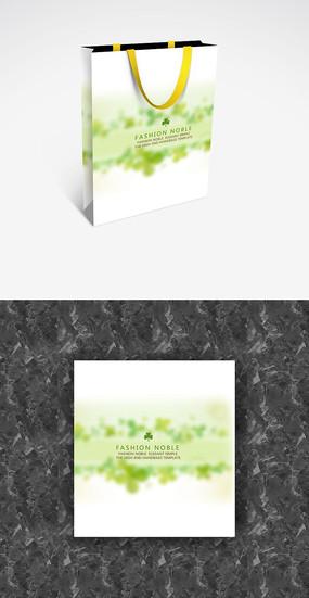 白底清新绿色手提袋模板设计