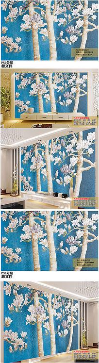 逼真3D立体玉兰花树电视背景墙大型壁画