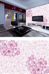 粉色小花电视背景墙 PSD