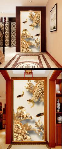 木雕牡丹花鲤鱼玄关