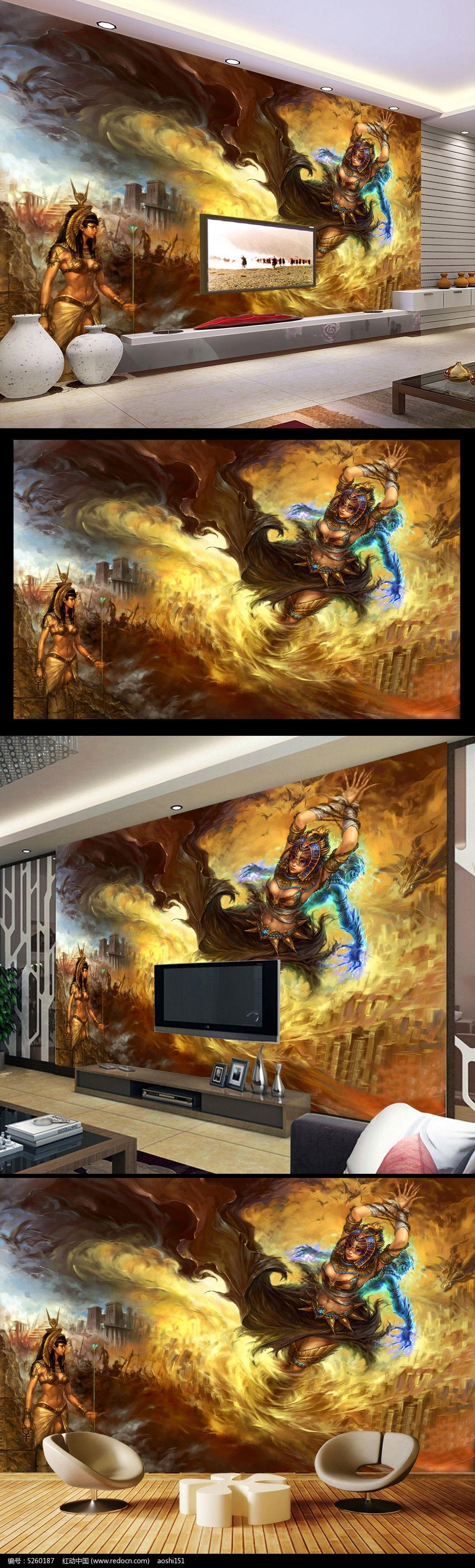 网吧游戏城动漫美女手绘背景墙壁画