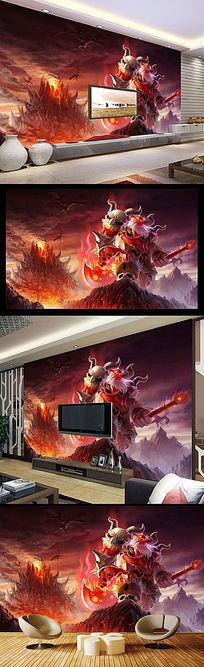 网吧游戏城怪兽手绘动漫背景墙壁画