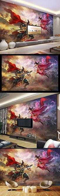 网吧游戏城手绘人物动漫背景墙壁画