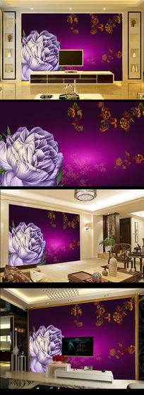 紫色玫瑰花电视背景墙