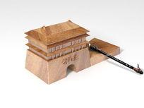 创意毛笔多功能笔架产品设计(有犀牛3D文件) CDR
