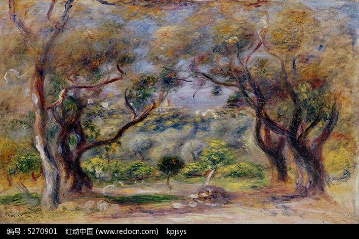 复古树木水彩无框画