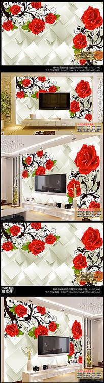 高清3D立体方块玫瑰花纹电视背景墙